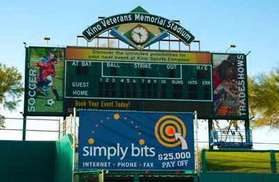 Simply Bits Big Hitter Banner out in left field of the Kino Veterans Memorial Stadium